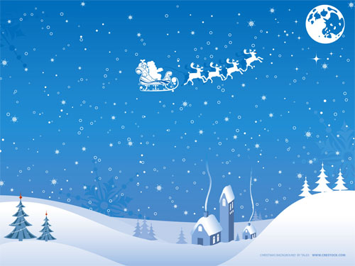 Wallpaper-blue-santa-and-sleigh in Beautiful Christmas Pictures and Creative Christmas Designs