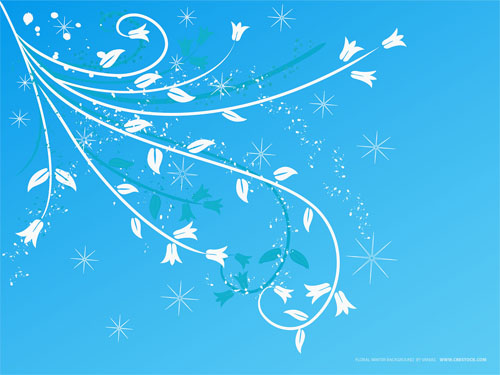 Wallpaper-blue-swirls-flowers-snowflakes in Beautiful Christmas Pictures and Creative Christmas Designs