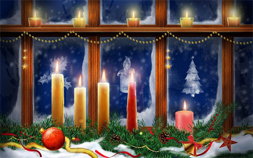 Wallpaper-christmas-candles-in-window in Beautiful Christmas Pictures and Creative Christmas Designs