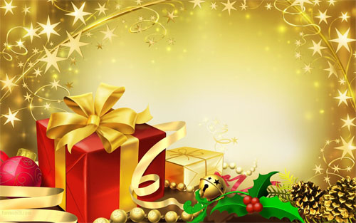 Wallpaper-christmas-presents-gold in Beautiful Christmas Pictures and Creative Christmas Designs