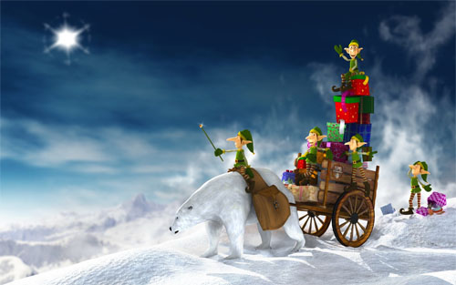 Wallpaper-christmas-sleigh-elves in Beautiful Christmas Pictures and Creative Christmas Designs