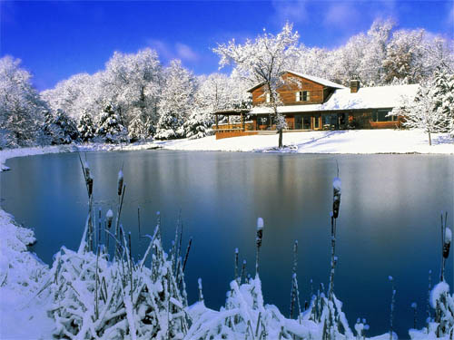 Wallpaper-christmas-winter-landscape-lake in Beautiful Christmas Pictures and Creative Christmas Designs