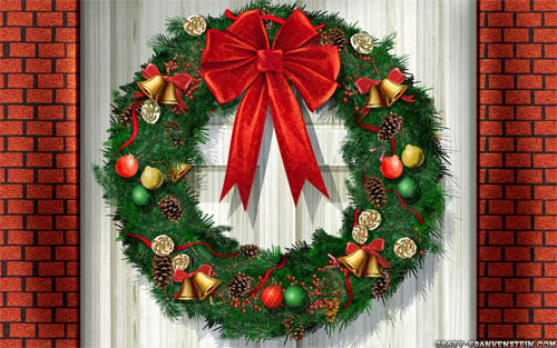 Wallpaper-christmas-wreath in Beautiful Christmas Pictures and Creative Christmas Designs