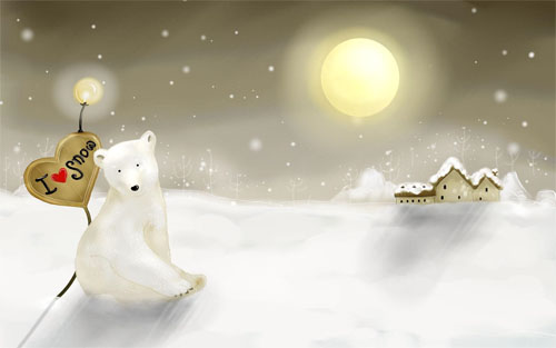 Wallpaper-winter-landscape-polar-bear-snow in Beautiful Christmas Pictures and Creative Christmas Designs
