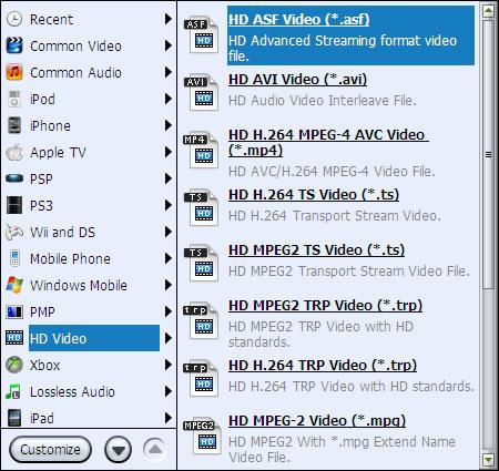 leawo hd video converter profile