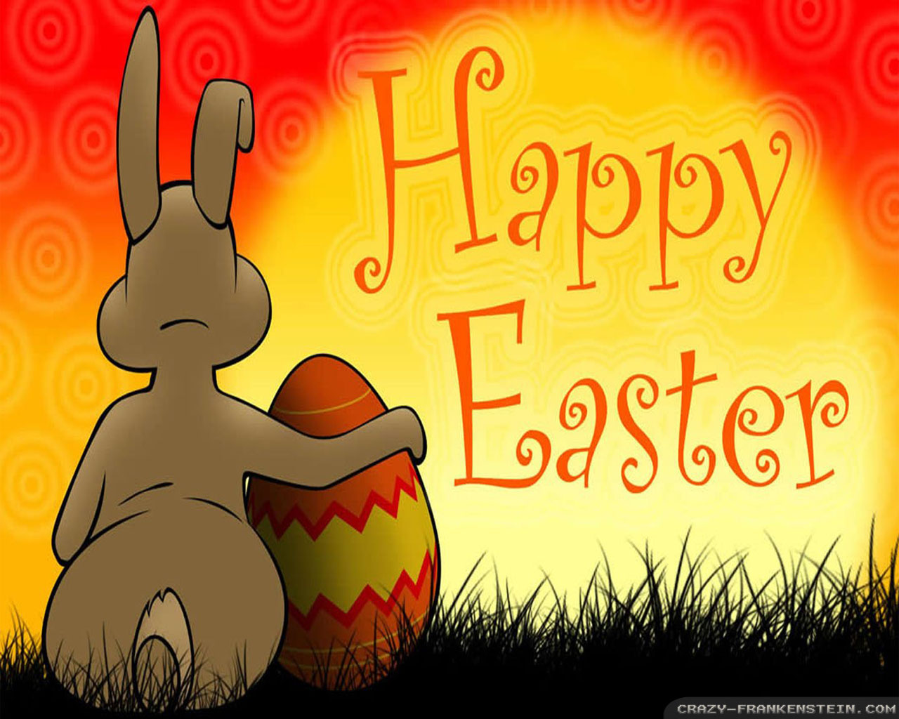 Happy Easter Bunny Hug Egg wallpaper