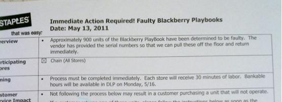BlackBerry PlayBook recall