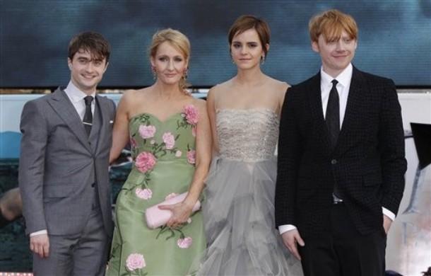 JK Rowling, Daniel Radcliffe, Emma Watson, Rupert Grint