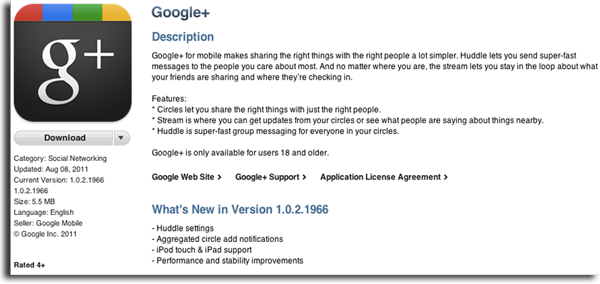 Google+ for iOS update