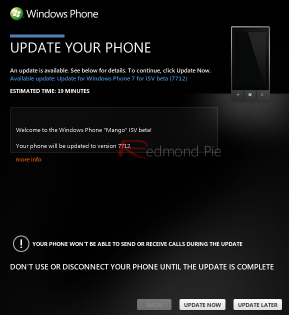 Windows Phone 7 Mango Build 7712