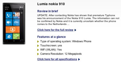 Nokia Lumia 910 leaked