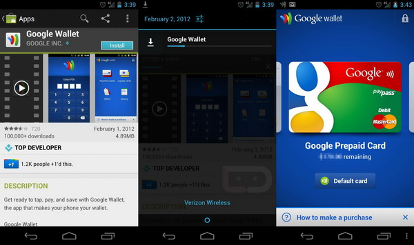 Galaxy Nexus Google Wallet