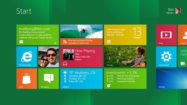 Schermata iniziale di Windows 8