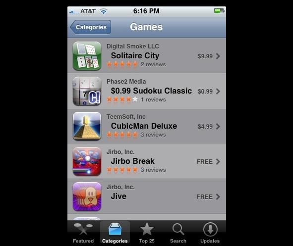 Verticla App Store list