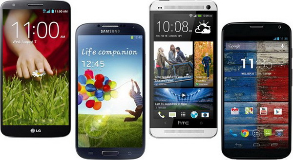 LG G2 vs. Samsung Galaxy S 4 vs. HTC One vs. Moto X