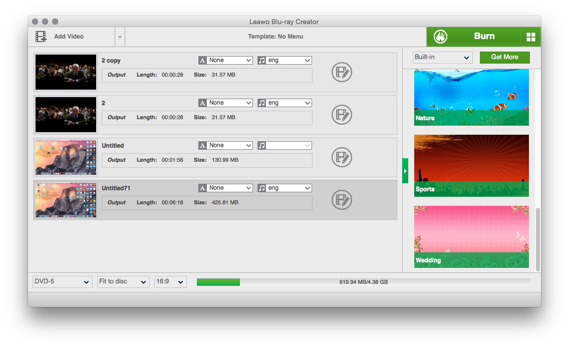 Leawo Blu-ray Creator for Mac Screenshot