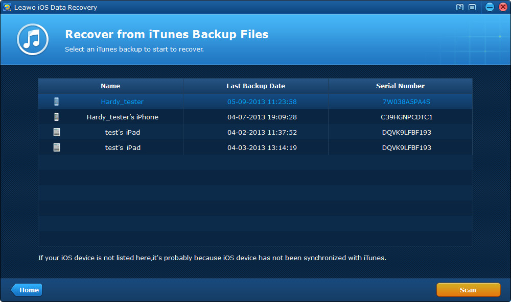 Select an iTunes backup for scan