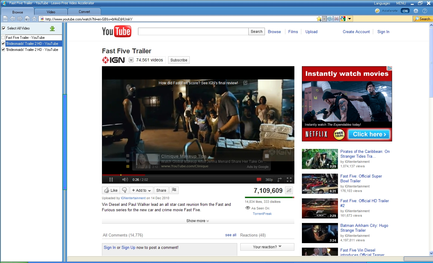 Search For Fast Five Movie Video On Youtube