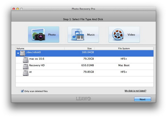 Choose file type and disk