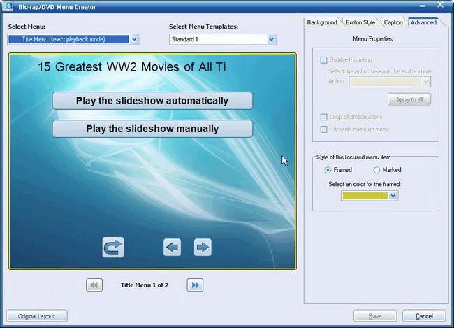 Utilisez DVD / Blu-ray Menu Creator