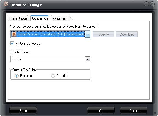 Selecione a versão do PowerPoint padrão e Prioridade Codec
