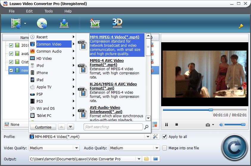 Leawo video converter pro user guide step 2choose output profile ccuart Gallery