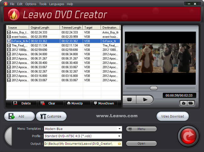 Import video to dvd creator