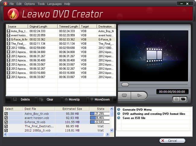 Start burning video to DVD