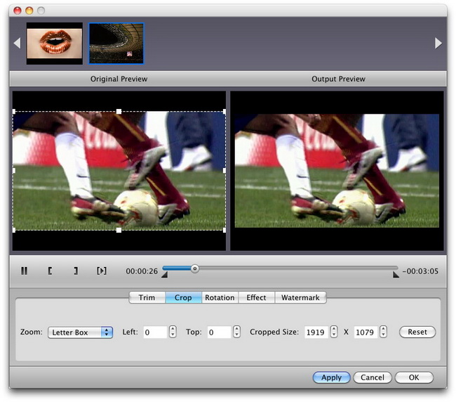 Effect seetings for converting AVI to WMV for Mac
