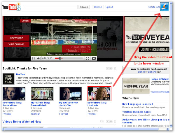 ... video thumbnail to the hover window of Leawo Free YouTube Downloader.