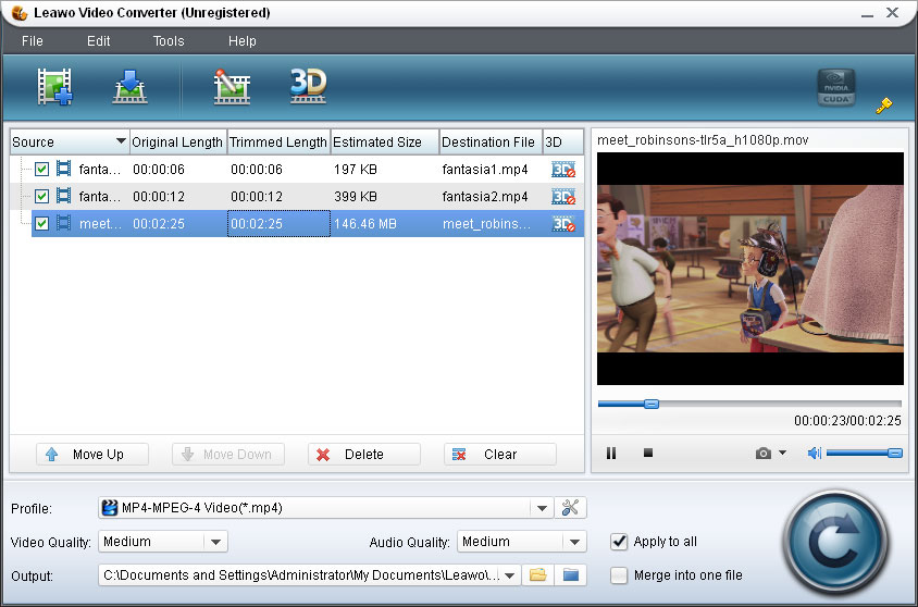 Leawo Video Converter convert flv to 3gp