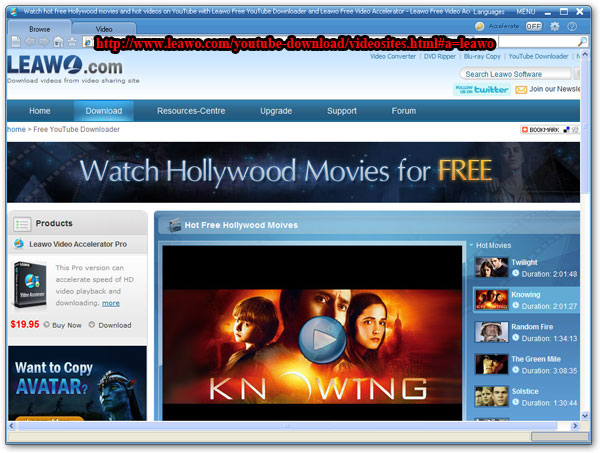 Leawo Free YouTube Downloader home page