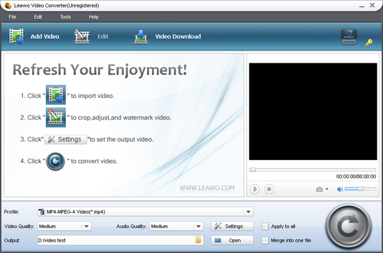 Screenshot of Leawo AVI to MPEG Converter