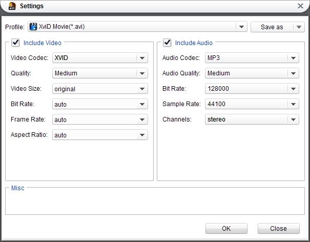 Set parameters for MKV to AVI conversion
