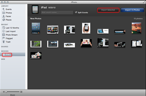 Import iPad 4 photos into iPhoto
