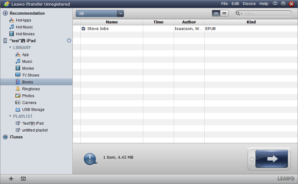 The files you choose will show both in the window and your iPad after transfer.
