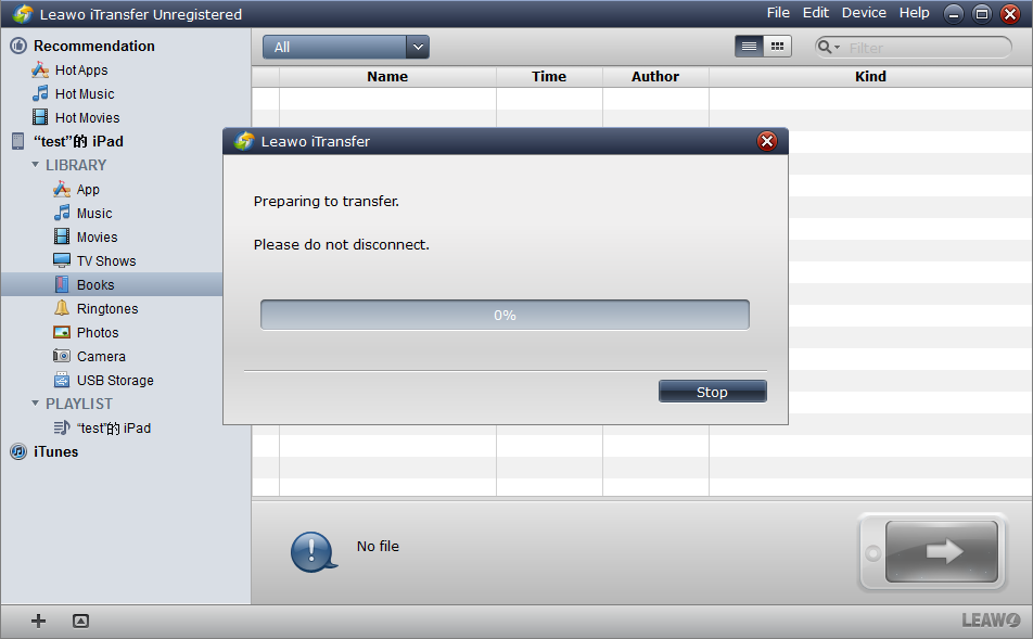 iTransfer will automatically transfer your files
