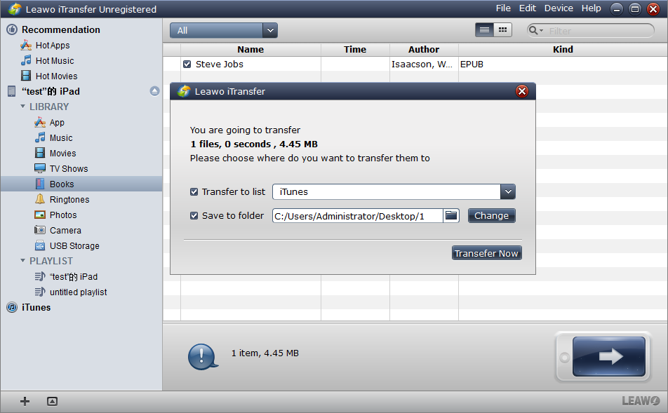 Transfer files in epub format from your iPad to computer.