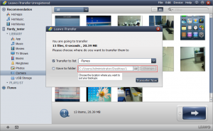 After you click the button, here will be a dialog for you to choose the backup location and then start transferring.