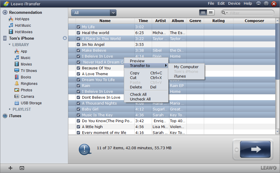 Choose Files and Start Transfer Settings