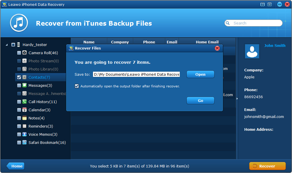 Elegir ubicación de almacenamiento para el iPhone contactos