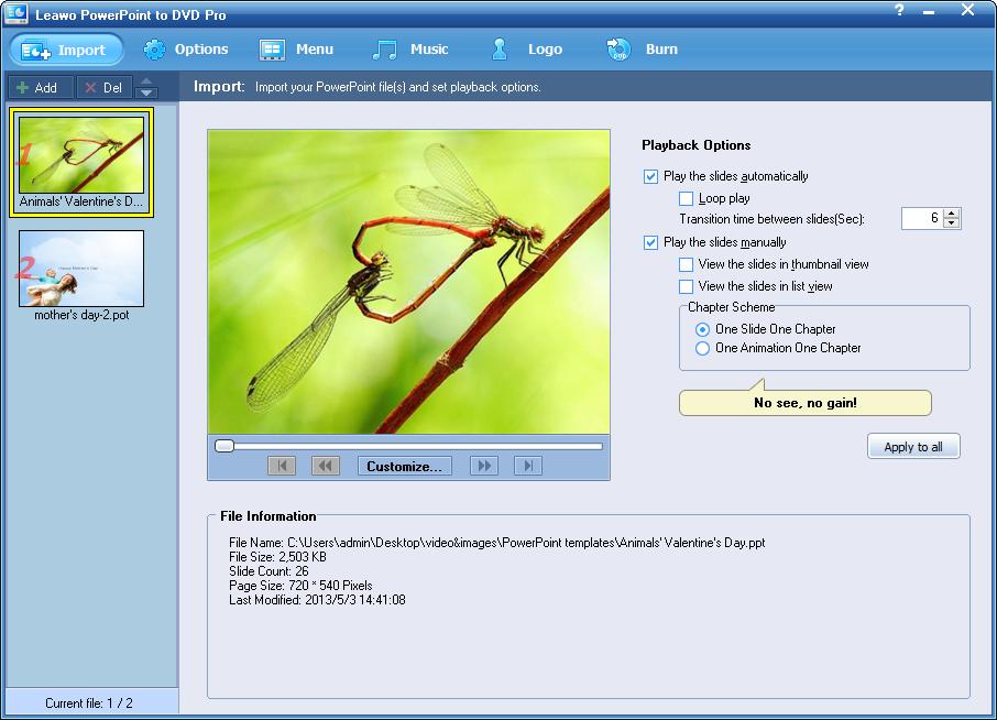 Importazione di file di PowerPoint 2013