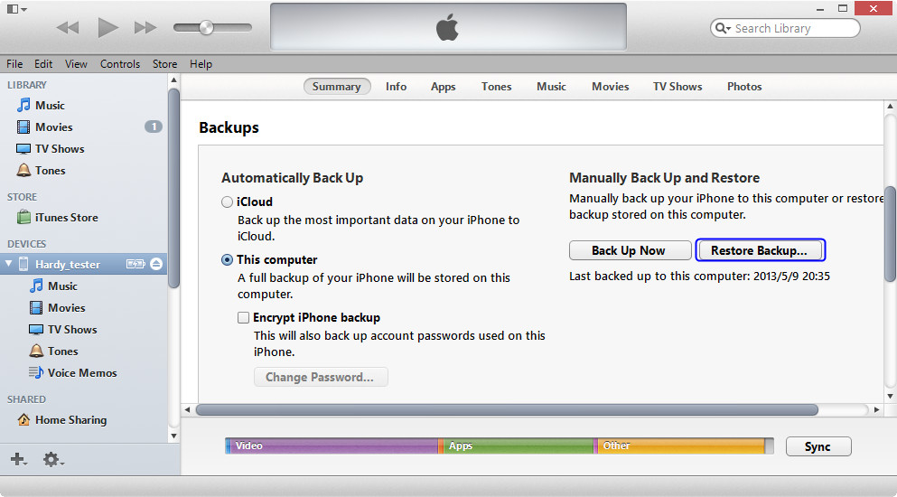 Restore from backup using iTunes - method 2
