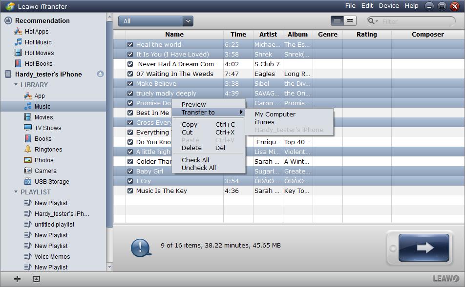 Leawo iTransfer - Select Files