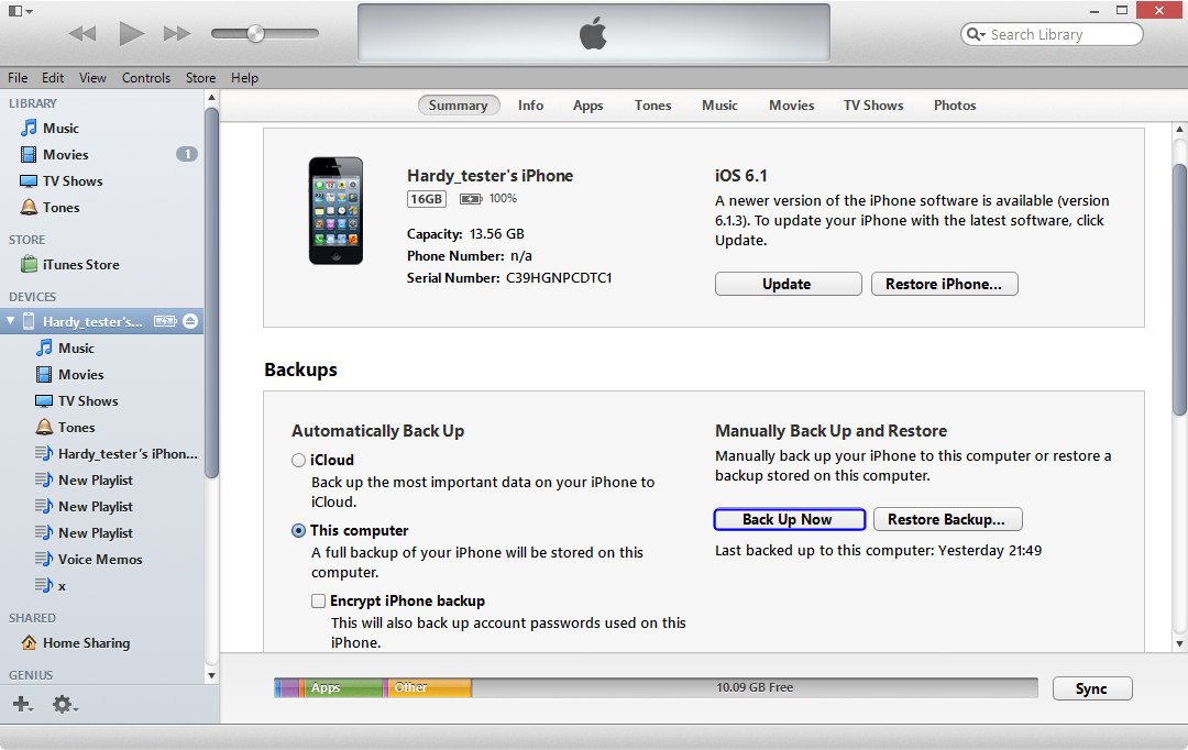 Copia de seguridad de iPhone a iTunes