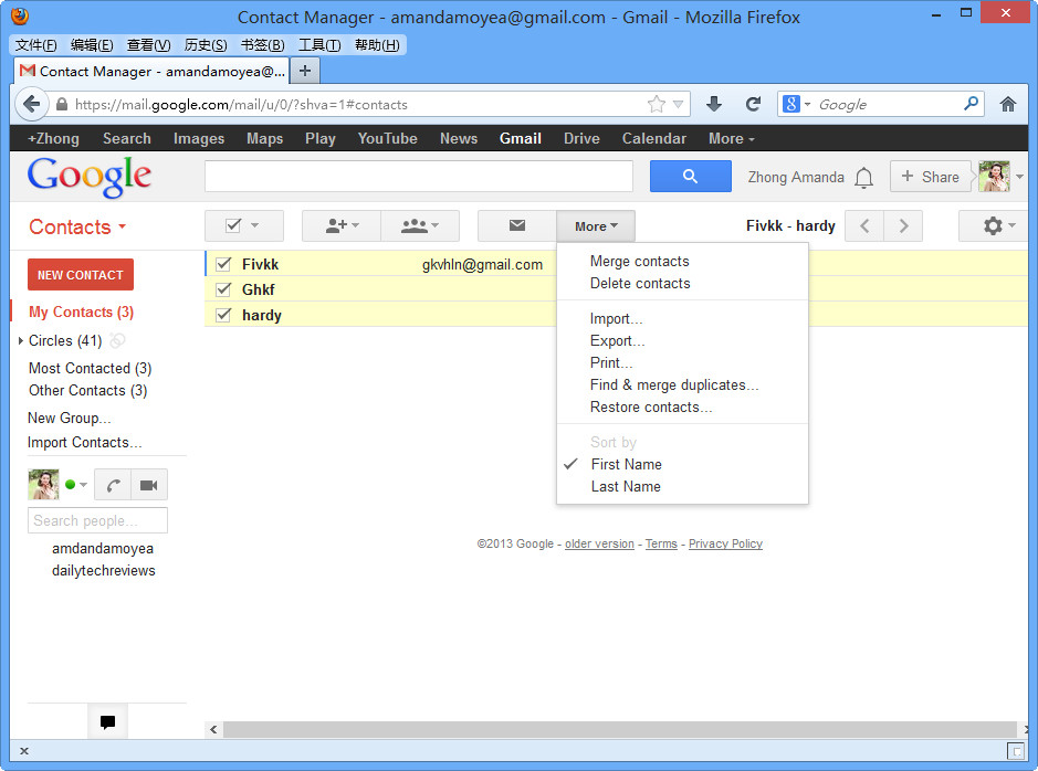 Choose contacts and export from Gmail