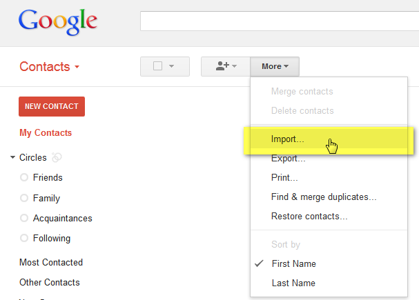 Import contacts to Google Gmail
