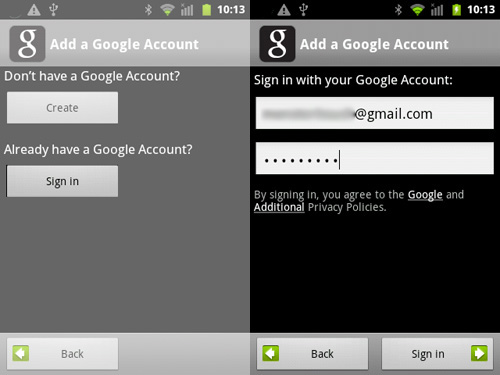 Sign into Gmail account