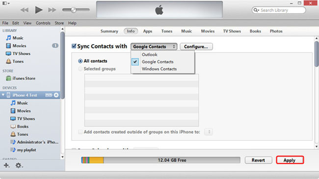 Back up contacts to Google Contacts