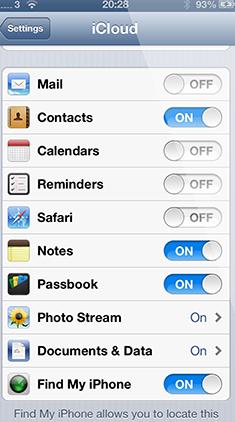 Tournez contacts dans les paramètres iCloud